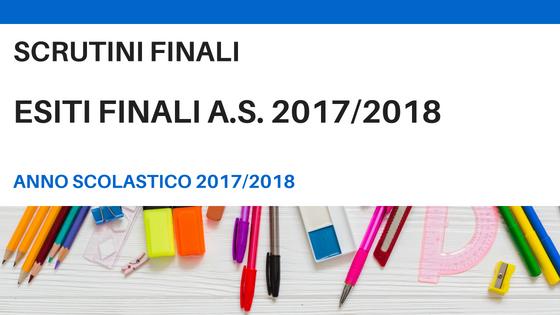 Esiti Finali Scrutini a.s. 2017/2018