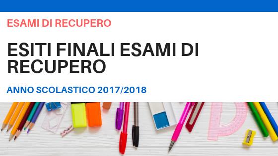 ESITI FINALI – Esami di Recupero a.s. 2017/2018