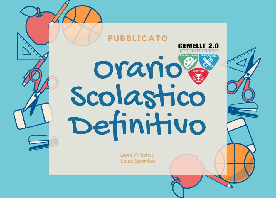 Orario Scolastico Definitivo dal 21 Ottobre 2019