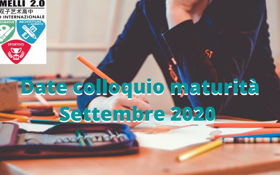 Date colloquio maturità sessione di Settembre 2020
