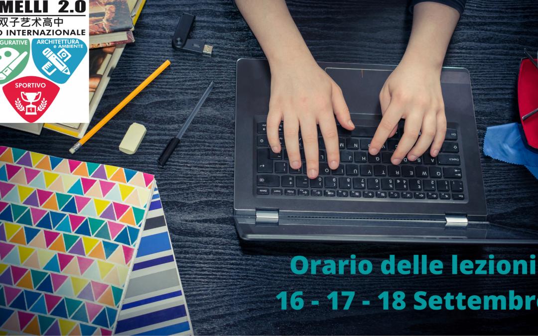 Orario delle lezioni 16 – 17 – 18 Settembre 2020