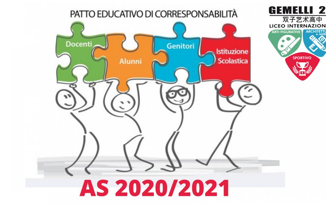Patto di corresponsabilità a.s. 2020/2021 aggiornato COVID-19