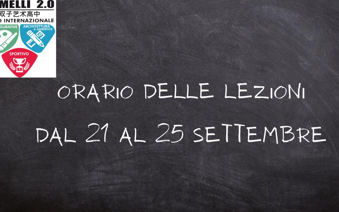Orario delle lezioni dal 21 al 25 Settembre 2020
