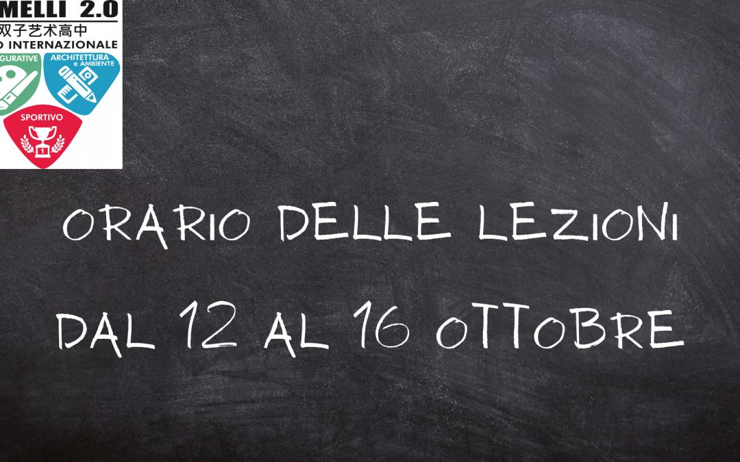 Orario delle lezioni dal 12 al 16 Ottobre 2020